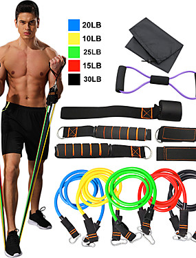 cheap Sports & Outdoors-Resistance Band Set 12 pcs 5 Stackable Exercise Bands Door Anchor Legs Ankle Straps Sports TPE Home Workout Pilates Fitness Heavy-duty Carabiner Strength Training Muscular Bodyweight Training Muscle