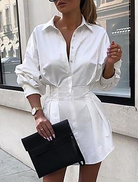abordables Vêtements Femme-Femme Robe Robe Droite Au dessus du genou Manches Longues Eté - Chic de Rue Couleur unie 2020 Blanche Noir Fuchsia S M L XL