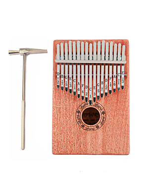 cheap Musical Instruments-Kalimba 17 Key Finger Mbira Sanza Thumb Piano Wood Portable Best Gift for Kids and Beginners