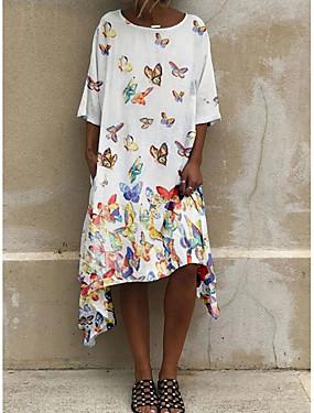 halpa Naisten vaatteet-Naisten A-linjainen mekko Midimekko - 3/4 hiha Kukka Kesä Tyylikäs 2020 Valkoinen Uima-allas Keltainen S M L XL XXL XXXL