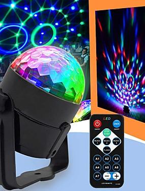 levne Hudební nástroje-U'King Disco světla Party Light LED bodová světla Zvukově aktivované / Dálkový ovladač / Hudbou aktivované 6 W Přenosná R GB pro Dance Party Wedding DJ Disco Show Lighting