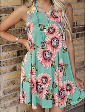 저렴한 여성용 의류-여성용 A 라인 드레스 무릎 길이 드레스 - 민소매 프린트 여름 캐쥬얼 무무 2020 카키 클로버 라이트 그레이 그레이 S M L XL XXL XXXL XXXXL XXXXXL