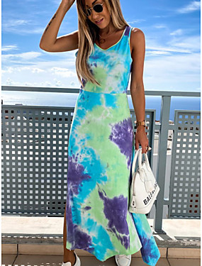 cheap Women's Clothing-Women's Strap Dress Midi Dress - Sleeveless Tie Dye Summer Casual Mumu 2020 Blue Blushing Pink Orange S M L XL XXL