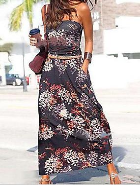 abordables Vêtements Femme-Femme Robe Trapèze Robe Maxi longue Sans Manches Eté - Simple mumu Imprimé 2020 Noir Arc-en-ciel S M L XL XXL