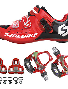 cheap Sports & Outdoors-SIDEBIKE Adults' Cycling Shoes With Pedals & Cleats Road Bike Shoes Carbon Fiber Cushioning Cycling Red Men's Cycling Shoes / Breathable Mesh