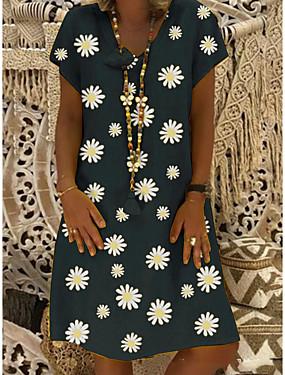 levne Dámské Oděvy-Dámské Úpletové šaty Sedmikráska Šaty ke kolenům - Krátké rukávy Květinový Tisk Léto Do V Na běžné nošení Dovolená Černá Žlutá Khaki Trávová zelená S M L XL XXL XXXL XXXXL XXXXXL / Větší velikosti