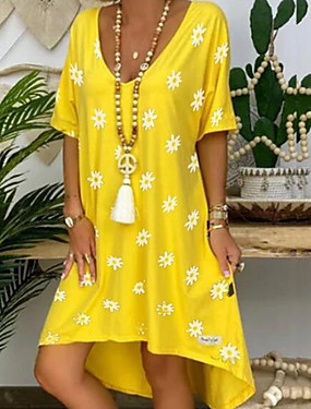 levne Dámské Oděvy-Dámské Plášťové šaty Midi šaty - Krátké rukávy Květinový Léto Elegantní 2020 Žlutá S M L XL XXL XXXL