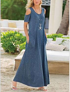 저렴한 여성용 의류-여성용 시프트 드레스 맥시 드레스 - 짧은 소매 한 색상 여름 캐쥬얼 시누아즈리 2020 블랙 푸른 퍼플 그레이 S M L XL XXL XXXL