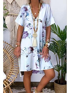 halpa Naisten vaatteet-Naisten A-linjainen mekko Polvipituinen mekko - Lyhyt hiha Painettu Kesä Vapaa-aika mumu 2020 Valkoinen Vaalean sininen S M L XL XXL XXXL XXXXL XXXXXL
