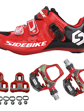 cheap Sports & Outdoors-SIDEBIKE Cycling Shoes With Pedals & Cleats Road Bike Shoes Nylon Carbon Fiber Breathable Cushioning Ultra Light (UL) Cycling Red / black Men's Cycling Shoes / Quick Dry