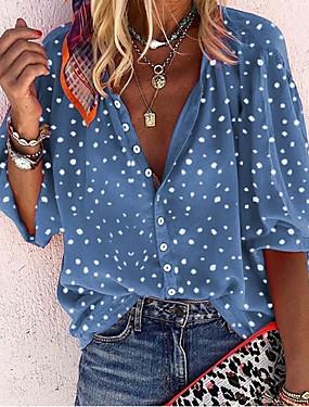 cheap Women's Clothing-Women's Polka Dot Mesh Blouse Daily V Neck White / Blue / Red / Yellow / Lantern Sleeve