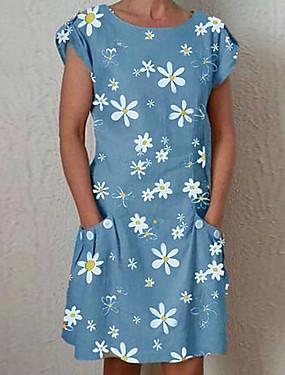abordables Vêtements Femme-Femme Robe Droite Robe Longueur Genou Manches courtes Eté - Elégant Poche Fleur Marguerite Ample 2020 Bleu Vert Gris Bleu clair S M L XL XXL XXXL