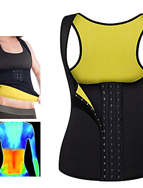 cheap Sports & Outdoors-Body Shaper Hot Sweat Workout Tank Top Slimming Vest Sweat Waist Trainer Corset Sports Neoprene Yoga Exercise & Fitness Fitness No Zipper Adjustable D-Ring Buckle Weight Loss Strengthens Muscle Tone