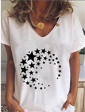 저렴한 여성용 의류-여성용 탑스 그래픽 티셔츠 - 프린트 V 넥 일상 화이트 푸른 루비 그레이 S M L XL 2XL 3XL 4XL