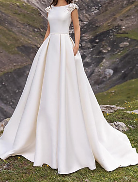cheap New Arrivals-A-Line Wedding Dresses Jewel Neck Sweep / Brush Train Satin Cap Sleeve Simple with Appliques 2020