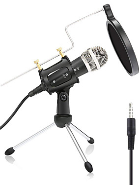 cheap Musical Instruments-Wired Microphone Condenser Microphone Pop Filter X-01 3.5mm Jack for Studio Recording & Broadcasting Notebooks and Laptops PC Mobile Phone