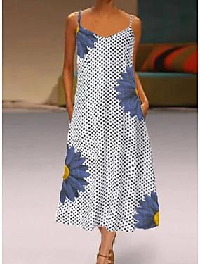 رخيصةأون ملابس نسائية-نسائي فستان شيفت فستان ميدي - بدون كم منقط الصيف أنيق 2020 رمادي S M L XL XXL XXXL