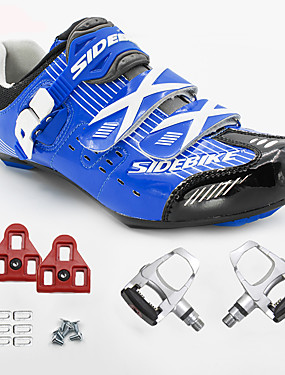 cheap Sports & Outdoors-Unisex Cycling Shoes With Pedals & Cleats Sneakers Road Bike Shoes Nylon and Carbon Fiber Cycling / Bike Cushioning Breathable Mesh PU(Polyurethane) Blue
