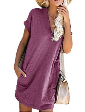 رخيصةأون ملابس نسائية-نسائي فستان شيفت فستان طول الركبة - كم قصير لون الصلبة الصيف أنيق 2020 نبيذ أسود أزرق أرجواني أصفر أخضر داكن S M L XL XXL XXXL