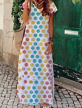 رخيصةأون ملابس نسائية-نسائي فستان شكل حرف A فستان طويل - كم قصير منقط الصيف أنيق 2020 أبيض أسود رمادي S M L XL XXL XXXL