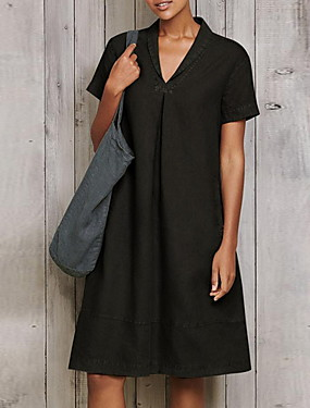 رخيصةأون ملابس نسائية-نسائي فستان شيفت فستان طول الركبة - كم قصير لون الصلبة الصيف كاجوال عتيق مناسب للبس اليومي 2020 أسود أزرق أخضر S M L XL XXL