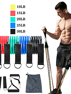 cheap Sports & Outdoors-Resistance Band Set Exercise Resistance Bands 11 pcs 5 Stackable Exercise Bands Door Anchor Legs Ankle Straps Sports TPE Home Workout Pilates CrossFit Heavy-duty Carabiner Strength Training Muscular