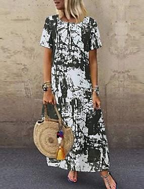 abordables Vêtements Femme-Femme Robe Droite Robe Maxi longue Manches courtes Eté - Elégant Bloc de Couleur 2020 Noir Orange Vert Bleu Marine S M L XL XXL XXXL XXXXL XXXXXL