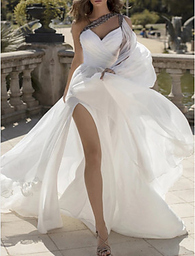 cheap New Arrivals-A-Line Wedding Dresses One Shoulder V Neck Sweep / Brush Train Chiffon Sleeveless Vintage Sexy Wedding Dress in Color with Split Front 2020