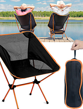 cheap Sports & Outdoors-Camping Chair Portable Breathable Ultra Light (UL) Foldable Mesh Oxford 7075 Aluminium Alloy for 1 person Camping / Hiking Fishing Beach Picnic Autumn / Fall Spring Red Orange Dark Blue Light Blue
