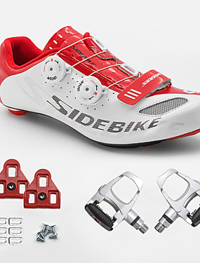 cheap Sports & Outdoors-SIDEBIKE Adults' Cycling Shoes With Pedals & Cleats Road Bike Shoes Carbon Fiber Cushioning Cycling White and Red Men's Cycling Shoes / Breathable Mesh