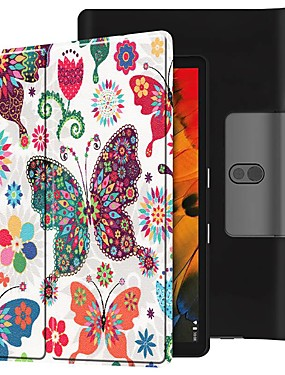 cheap Other Phone Case-Case For Lenovo Yoga Smart Tab YT-X705F Shockproof / with Stand / Flip Full Body Cases Butterfly PU Leather Case For Lenovo Yoga Smart Tab YT-X705F
