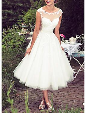 זול חנות החתונות-נשף גזרת A שמלות חתונה עם תכשיטים באורך הקרסול תחרה טול ללא שרוולים וינטאג' 1950s עם ריקמה אפליקציות 2020
