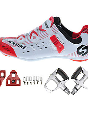 cheap Sports & Outdoors-SIDEBIKE Adults' Cycling Shoes With Pedals & Cleats Road Bike Shoes Nylon Breathable Cushioning Cycling White / Black / Red Men's Cycling Shoes / Synthetic Microfiber PU