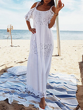 cheap Clearance-Women's Shift Dress Maxi long Dress - Short Sleeve Solid Colored White One-Size