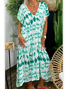 cheap Women's Clothing-Women's Shift Dress Knee Length Dress - Short Sleeves Print Tie Dye Summer Casual Mumu 2020 Red Yellow Green Light Green S M L XL XXL XXXL