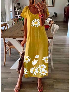 tanie Odzież damska-Damskie Stokrotka Sukienka maxi - Krótki rękaw Kwiaty Nadruk Lato Casual Urlop Luźna 2020 Czarny Niebieski Żółty Szary S M L XL XXL XXXL