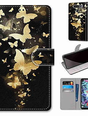 cheap Other Phone Case-Case For LG Q70 / LG K50S / LG K40S Wallet / Card Holder / with Stand Full Body Cases Golden Butterfly PU Leather / TPU for LG K30 2019 / LG K20 2019