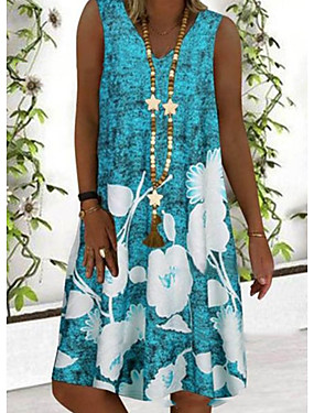 abordables Vêtements Femme-Femme Robe Robe Trapèze Mi-long Sans Manches Eté - Chic de Rue Fleur 2020 Bleu Gris S M L XL XXL XXXL XXXXL XXXXXL