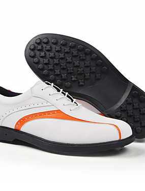cheap Golf, Badminton & Table Tennis-Men's Golf Shoes Waterproof Lightweight Breathable Anti-Slip Golf Outdoor Exercise Spring, Fall, Winter, Summer Orange White