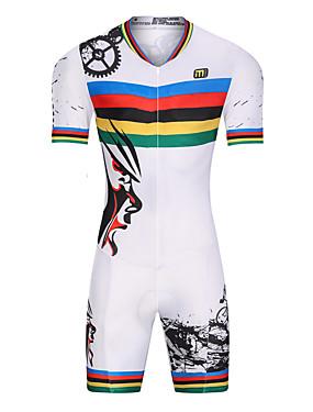 cheap Sports & Outdoors-Malciklo Men's Women's Short Sleeve Triathlon Tri Suit White Bike UV Resistant Breathable Quick Dry Moisture Wicking Reflective Strips Sports Geometric Triathlon Clothing Apparel / Stretchy / Expert