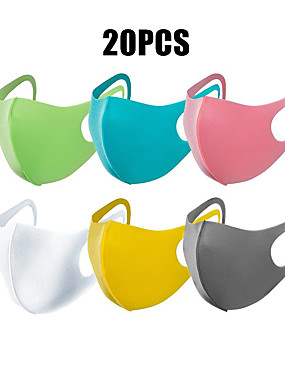 cheap Sports & Outdoors-Sports Mask Training Mask Workout Mask 20pcs Unisex Solid Colored Sports Mask Windproof Breathable Washable for Running Jogging Training Cotton Blend Spring, Fall, Winter, Summer Black Rainbow White