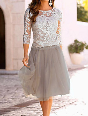 cheap Down to $2.99-Women's A-Line Dress Knee Length Dress - 3/4 Length Sleeve Lace Mesh Spring & Summer Elegant Going out Lace Beige M L XL XXL XXXL