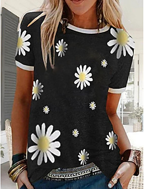 cheap Women's Clothing-Women's Floral Daisy T-shirt Daily Black / Blue / Red / Green / Gray