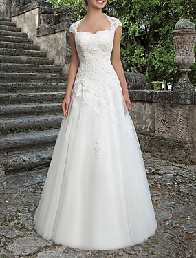 cheap The Wedding Store-A-Line Wedding Dresses Bateau Neck Sweep / Brush Train Lace Tulle Short Sleeve Country Plus Size with Draping Appliques 2020