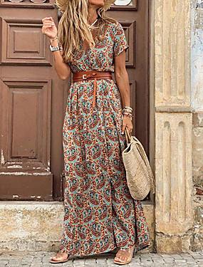 cheap Women's Clothing-Women's Maxi long Dress - Short Sleeves Paisley Print Summer V Neck Casual Holiday Vacation 2020 Brown S M L XL XXL XXXL