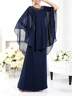 preiswerte Der Hochzeitsladen-Eng anliegend Brautmutterkleid Elegant Schmuck Boden-Länge Chiffon Halbe Ärmel mit Perlenstickerei 2020