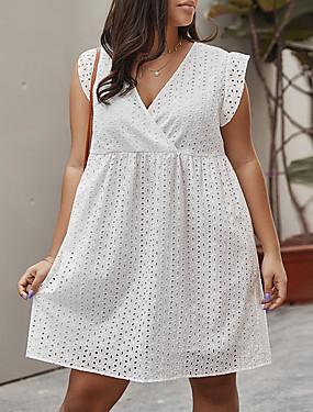 abordables Vestimenta de Mujeres-Mujer Vestido de una línea Mini vestido - Sin Mangas Color sólido Verano Casual 2020 Blanco XL XXL XXXL XXXXL