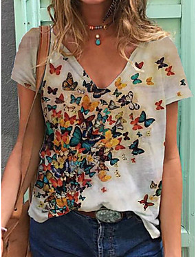cheap Down to $2.99-Women's T-shirt Butterfly Print V Neck Tops Loose Cotton Basic Basic Top White