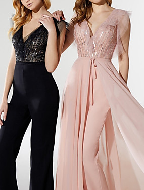 cheap New Arrivals-Jumpsuits Elegant Sparkle Prom Formal Evening Dress V Neck Short Sleeve Detachable Chiffon Sequined with Sequin 2020