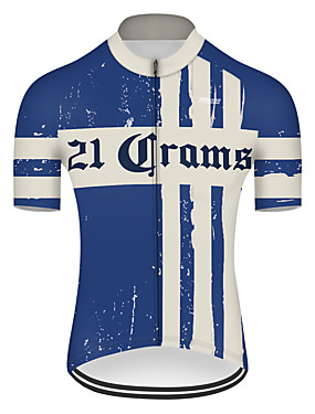 cheap Sports & Outdoors-21Grams Men's Short Sleeve Cycling Jersey Spandex Polyester Blue / White Retro Bike Jersey Top Mountain Bike MTB Road Bike Cycling UV Resistant Breathable Quick Dry Sports Clothing Apparel / Stretchy